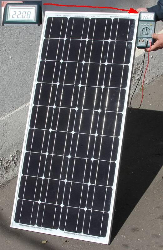Измерение напряжения холостого хода солнечной батареи 100 Вт