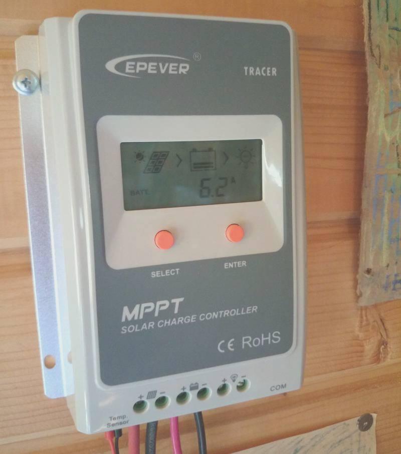 Показания МРРТ контроллера утром 03.08.2016, 09:13, зарядный ток 6.2 А