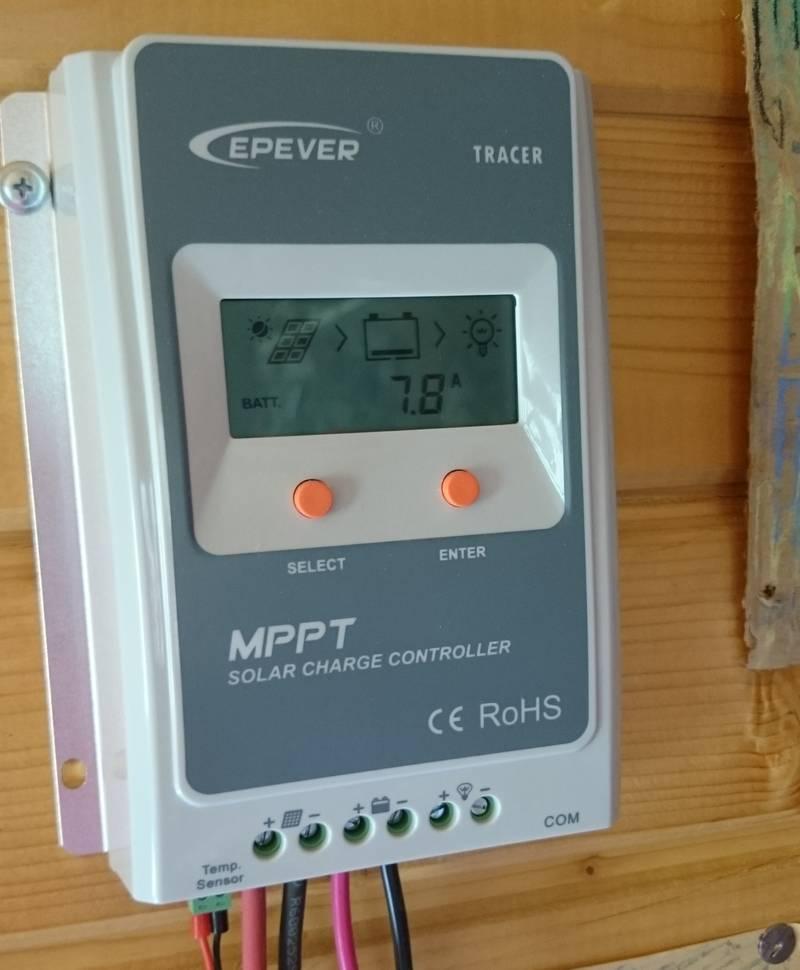 Показания MPPT контроллера днем 03.08.2016, 13:11, зарядный ток 7.8 А